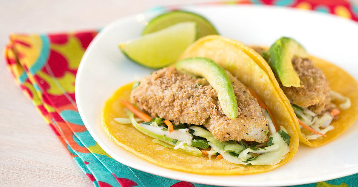 Baked not fried healthy fish taco recipe hungry girl for Fried fish tacos recipe