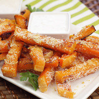 Healthy French Fries: Garlic-Parm Sweet Faux-tato Fries
