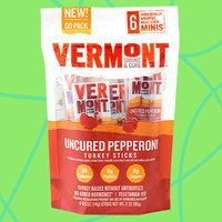 Vermont Smoke & Cure Minis: Cracked Pepper Beef & Pork Sticks and Uncured Pepperoni Turkey Sticks Minis