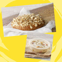 Panera Meal with 350 Calories or Less: Sprouted Grain Bagel Flat + Reduced-Fat Roasted Vegetable Medley Cream Cheese