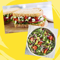 Panera Meal with 350 Calories or Less: Half Mediterranean Veggie Sandwich + Half Seasonal Greens Salad