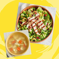 Panera Meal with 350 Calories or Less: Half BBQ Salad with Chicken + Cup Low-Fat Chicken Noodle Soup