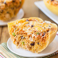 Lower-Carb Dinner Recipes: Chicken Enchilada Stuffed Spaghetti Squash