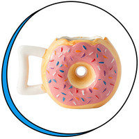 Cute Food-Themed Items: Comfify Ceramic Donut Mug, Delicious Pink Glaze Doughnut with Sprinkles