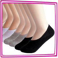 Hungry Girl's 1-Click Wonders: 2econdskin Women's Casual No Show Socks, Non Slip Flat Boat Line