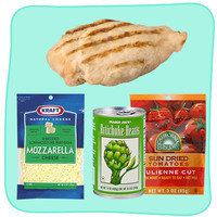 Easy Healthy Ways to Dress Up Chicken: Top with Mozzarella, Artichoke Hearts & Sun-Dried Tomatoes