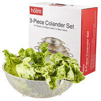 Healthy Cooking Kitchen Essentials: HÖLM 3-Piece Stainless Steel Mesh Micro-Perforated Strainer Colander Set