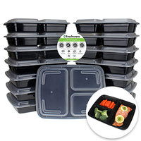 Freshware Meal Prep Containers, 3 Compartment with Lids, 15 Pack