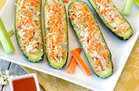 Hungry Girl's Healthy Buffalo Chicken Stuffed Zucchini Boats Recipe