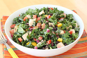 Healthy Recipes with Large Portion Sizes: Southwest Chicken Kale Salad