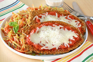 Healthy Recipes with Large Portion Sizes: Pan-Fried Eggplant Parm with Saucy Slaw