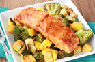Hungry Girl's Healthy Spicy BBQ Salmon & Veggies Recipe