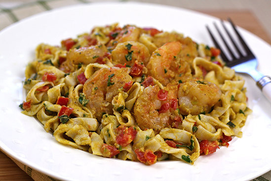 Low-Carb Avocado Alfredo Shrimp Pasta Recipe
