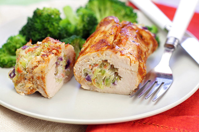 Healthy Broccoli BBQ Stuffed Chicken Recipe
