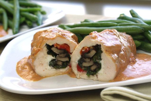 Healthy Portabella and Red Pepper Stuffed Chicken Recipe