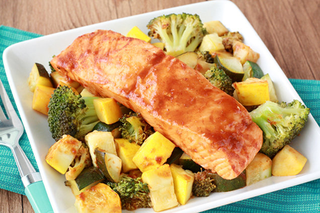 Healthy Spicy BBQ Salmon Veggie Foil Pack Recipe