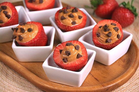 Chocolate & PB Stuffed Strawberries