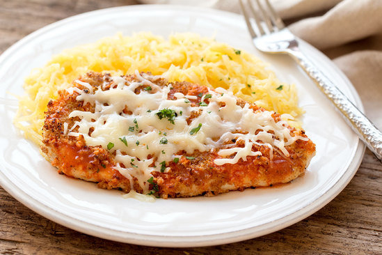 Healthy Buffalo Chicken Parm With Spaghetti Squash Recipe Hungry Girl