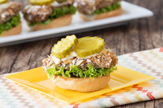 Open-Faced Pretzel-Coated Pork Sliders