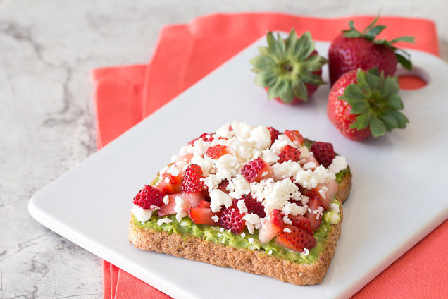 Hungry Girl's Healthy Strawberry-Feta Avocado Toast Recipe