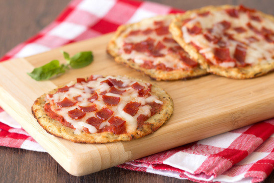 Hungry Girl's Healthy Cutie-Pie Cauliflower-Crust Pepperoni Pizzas