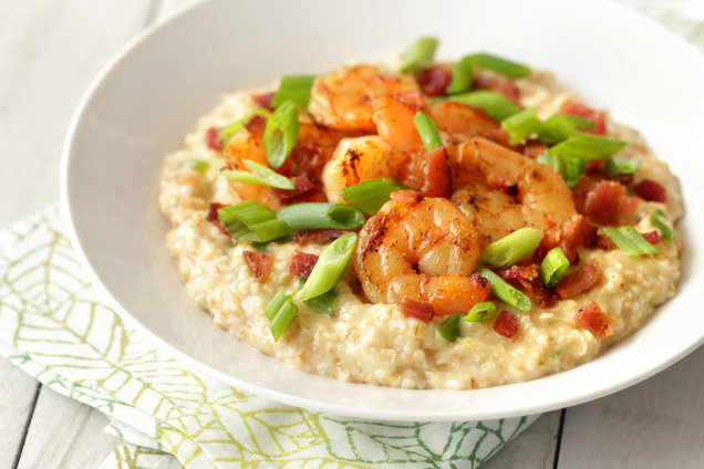 Hungry Girl's Healthy Shrimp & Cheesy Oats Bowl