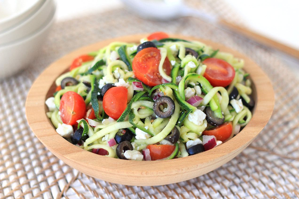 zucchini noodle pasta salad hungry girl. Black Bedroom Furniture Sets. Home Design Ideas
