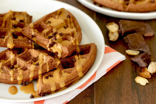 Hungry Girl's Healthy Chocolate PB Madness Waffles Recipe