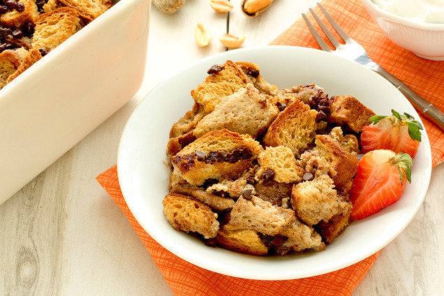 Hungry Girl's Healthy PB 'n Chocolate Bread Pudding Recipe