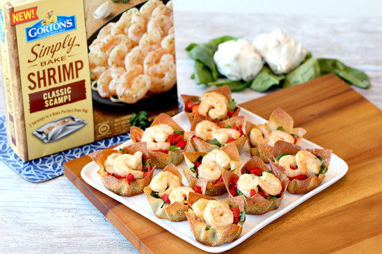 Hungry Girl's Healthy Shrimp Scampi Wonton Cups Recipe