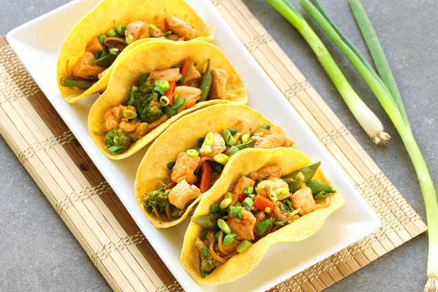 Hungry Girl's Healthy Chicken Stir-Fry Tacos Recipe
