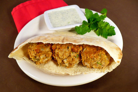Falafel Pita Pockets with Dill-icious Yogurt Dip