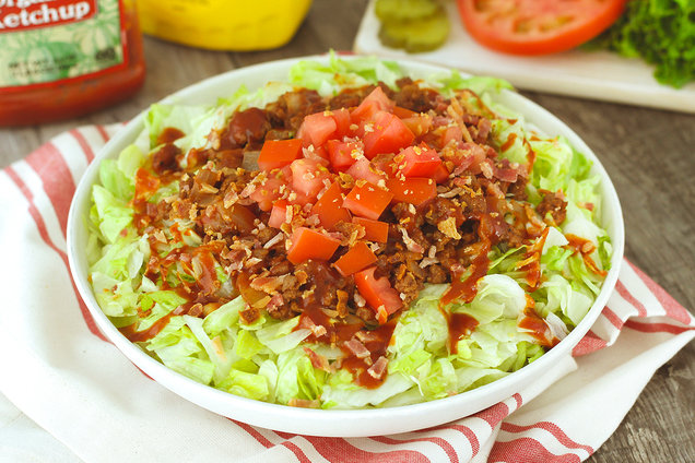 Hungry Girl's Healthy BBQ Bacon Burger Bowl Recipe