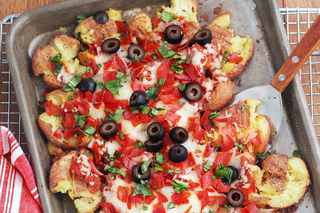 Hungry Girl's Healthy Pizza Smashed Potatoes Recipe