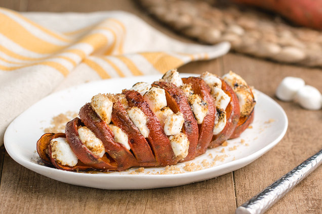 Hungry Girl's Healthy Holiday Hasselback Sweet Potato Recipe