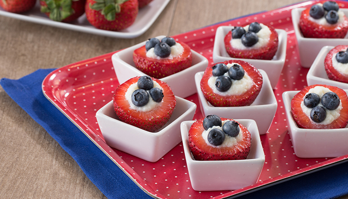 Hungry-Girl Video: Red, White & Blueberry Stuffed Strawberries!