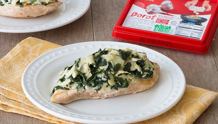 Hungry-Girl Video: Spinach & Artichoke Chicken (Sponsored by Dorot)