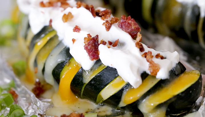Hungry-Girl Video: Fully Loaded Hasselback Zucchini