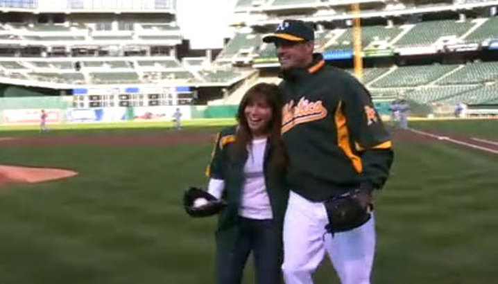 Hungry-Girl Video: Hungry Girl Throws Oakland A's First Pitch!