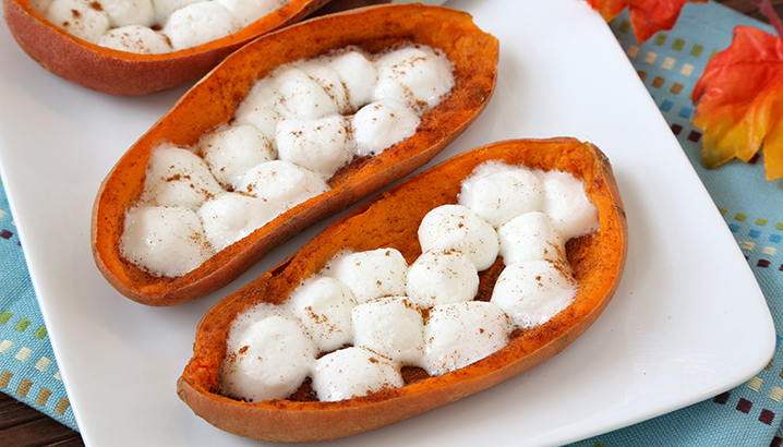 Hungry-Girl Video: How To... Make Toasty Marshmallow Sweet Potato Skins