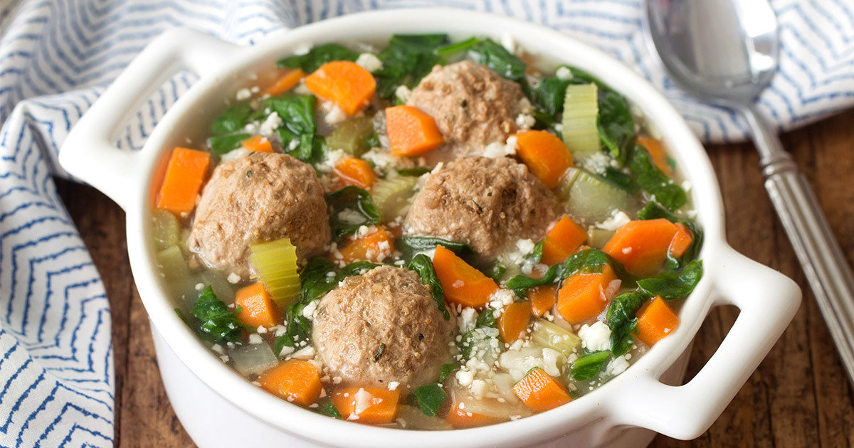 Healthy Italian Wedding Soup Recipe Featuring Cauliflower Rice Hungry Girl