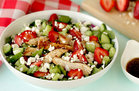 Hungry Girl's Healthy Strawberry Feta Spinach Salad with Chicken Recipe