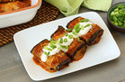 Hungry Girl's Healthy Bean & Cheese Eggplant 'Chiladas Recipe