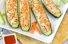 Hungry Girl's Healthy Buffalo Chicken Stuffed Zucchini Boats Recipe
