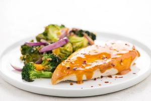 Carolina BBQ Chicken with Cheesy Broccoli