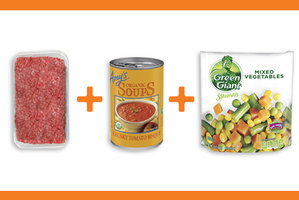 Ground Beef + Creamy Tomato Soup + Frozen Veggies