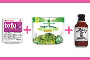 Tofu + BBQ Sauce + Frozen Broccoli Florets