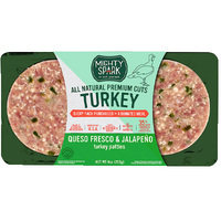 Mighty Spark All Natural Premium Cuts Queso Fresco & Jalapeño Turkey Patties