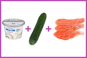 Cucumber Subs + Cream Cheese + Smoked Salmon