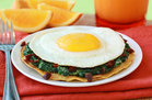 Hungry Girl's Healthy Cheesy Spinach Breakfast Tostada Recipe